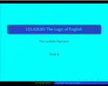 Preview image for video: LELA20281/LEC/LEC/01 11/11/2013 G21 15.00-16.30